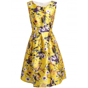 Stylish Slash Neck Flower and Birds Print Sleeveless Dress For Women - Yellow - Xl