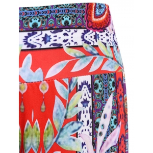 Damask Tribal Print Wide-Leg Palazzo Pants - COLORMIX L