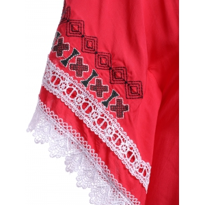 Ethnic Style Lace Embroidery V-Neck Batwing Sleeve Dress For Women -