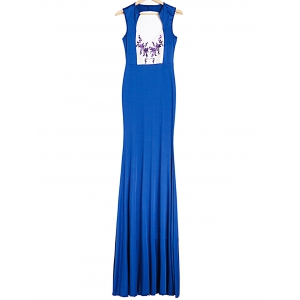 Plunging Neck Sleeveless Backless Printed Maxi Foraml Dress
