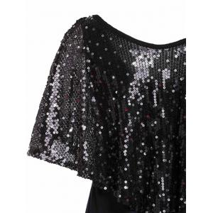 Fashionable V-Neck Sequins Embellished Short Sleeve Women's T-Shirt - BLACK M