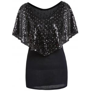 Fashionable V-Neck Sequins Embellished Short Sleeve Women's T-Shirt