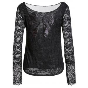 Stylish Scoop Neck Long Sleeve See-Through Bowknot Pattern Women's T-Shirt -