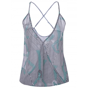 Printed Striped Camisole Tank Top