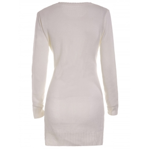 Sweet Round Neck High Slit White Sweater For Women - WHITE M