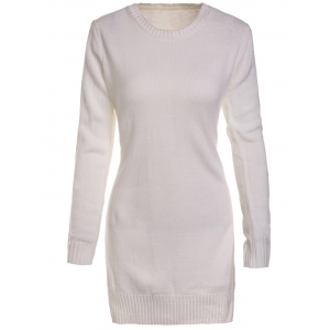 Sweet Round Neck High Slit White Sweater For Women - White - L