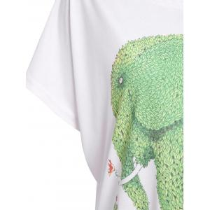 Casual Scoop Neck Cartoon Green Elephant Print Color Block Women's T-Shirt -