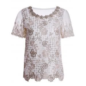Refreshing Scoop Neck Faux Pearl Beaded Embellished Lace Splicing Women's Blouse - Colormix - S
