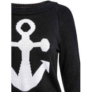 Stylish Jewel Neck Anchor Printed Sweater For Women - BLACK L