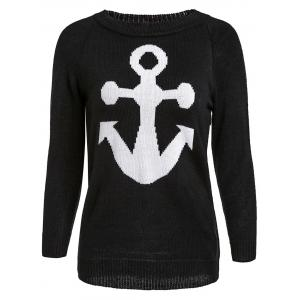 Stylish Jewel Neck Anchor Printed Sweater For Women - Black - L