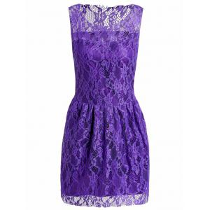 Sexy ronde sans manches col couleur unie See-Through Dress Women 's