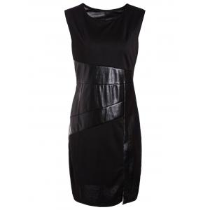 Faux Leather Insert Bodycon Sheath Dress