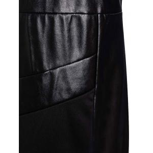 Jewel Neck Sleeveless Faux Leather Bodycon Dress - BLACK XL