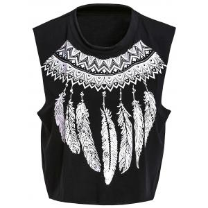 Stylish Round Neck Sleeveless Printed Women's Crop Top - Black - M