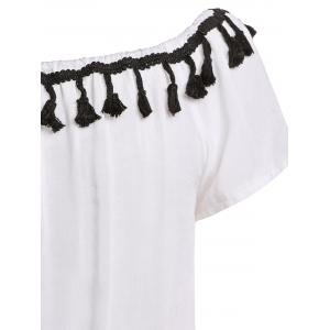 Sexy Off-The-Shoulder Short Sleeve Lace Spliced Tassles Women's Romper - WHITE S