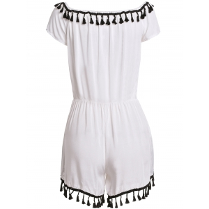 Sexy Off-The-Shoulder Short Sleeve Lace Spliced Tassles Women's Romper -