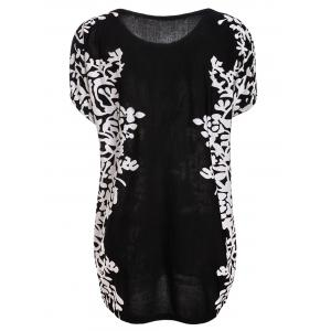 Stylish Scoop Neck Short Sleeves Floral Print Long T-Shirt For Women -