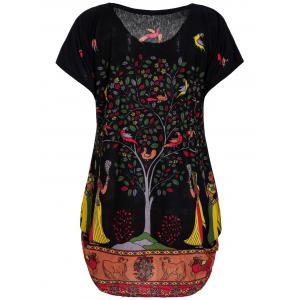 Plus Size Scoop Neck Tree Print Figure and Animal Pattern Women's Dress -