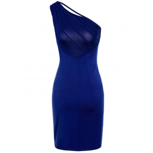 Sexy One-Shoulder Solid Color Backless Sleeveless Bodycon Dress For Women -
