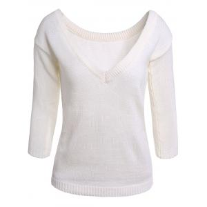 V Neck Open Back Long Sleeve Sweater - White - One Size(fit Size Xs To M)