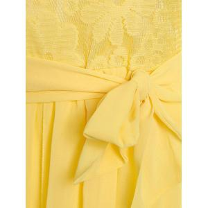 Lace Chiffon Long Sleeve Sheer Prom Dress - YELLOW L
