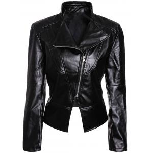 Stylish Turn-Down Collar Long Sleeves PU Leather Black Jacket For Women