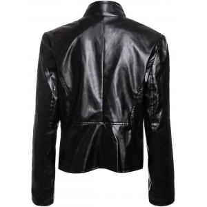 Stylish Turn-Down Collar Long Sleeves PU Leather Black Jacket For Women - BLACK M