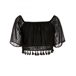 Stylish Slash Collar 3/4 Sleeve Solid Color Fringe Design Women's Blouse -