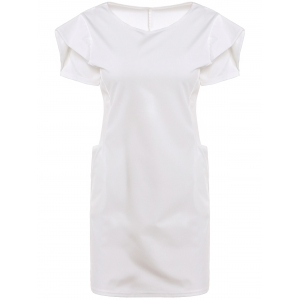 Chic Round Neck Short Sleeve Pure Color Pocket Design Women's Dress