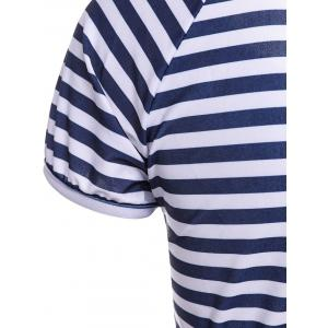 Stylish Scoop Neck Striped Short Sleeve Two Piece Swimwear For Women -