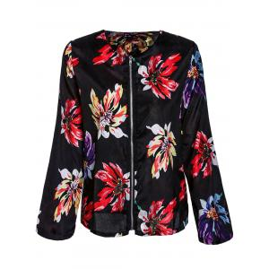 Ethnic Style Round Collar Floral Print Long Sleeve Coat For Women - Black - S