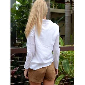Charming White Turn-Down Collar Long Sleeve Lace-Up Women's Shirt -