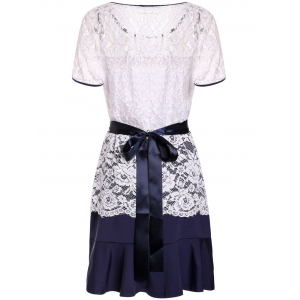 Sweet Scoop Neck Lace Spliced Short Sleeve Dress For Women -