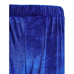 Stylish High-Waisted Solid Color Boot Cut Women's Velvet Pants -