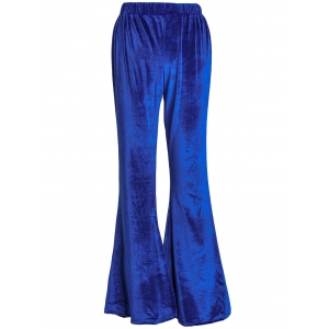 Stylish High-Waisted Solid Color Boot Cut Women's Velvet Pants - Blue - Xl