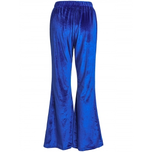 Stylish High-Waisted Solid Color Boot Cut Women's Velvet Pants - BLUE XL