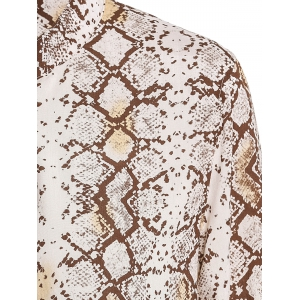 Sexy Long Sleeve Python Printed Shirt Dress For Women -