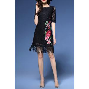 Flower Embroidered Lace Fringe Bodycon Dress -
