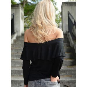 Charming Long Sleeve Off-The-Shoulder Black Flounced Women's T-Shirt -