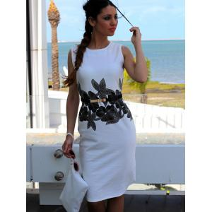 Round Neck Sleeveless Brief Style Floral Print Sheathy Dress For Women -