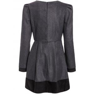 Elegant Jewel Neck Long Sleeve Color Block Worsted Dress For Women - DEEP GRAY M