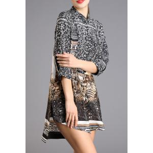 Abstract Print High-Low Shirt Dress -