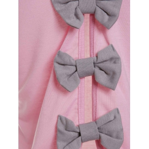 Cute Round Neck Bowknot Backless Knitted Vest For Women - PINK M