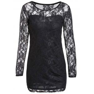 Sexy Scoop Neck Lace Spliced Slimming Long Sleeve Women's Dress - Black - M