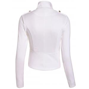 Fashionable Stand Collar Double-Breasted Zipper Long Sleeve Women's Jacket - WHITE M