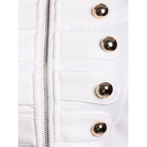 Fashionable Stand Collar Double-Breasted Zipper Long Sleeve Women's Jacket - WHITE S
