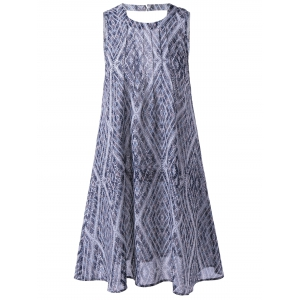 Ethnic Style Loose-Fitting Round Neck Cavern Out Dress For Women