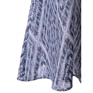 Ethnic Style Loose-Fitting Round Neck Cavern Out Dress For Women - PURPLISH BLUE M