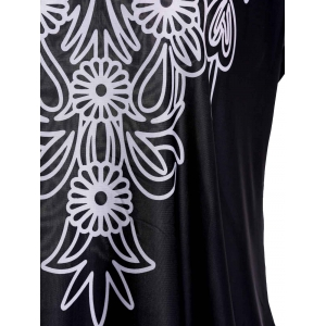 Bohemian Scoop Neck Short Sleeve Floral Print Loose-Fitting Black T-Shirt For Women -