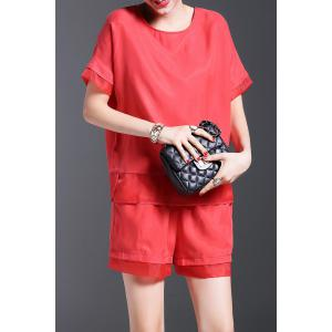 Pure Color Spliced Top and Shorts -